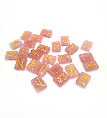Набор скандинавских рун из розового кварца SE-125