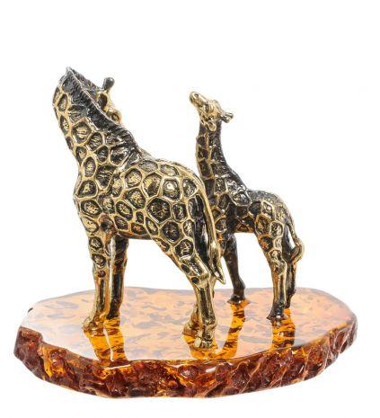 """Фигурка """"Жираф с малышом"""" (янтарь, латунь) AM-2005"""