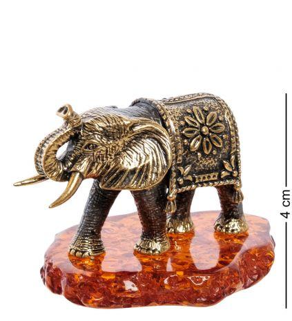 """Фигурка """"Слон Африка"""" (латунь, янтарь) AM-2252"""