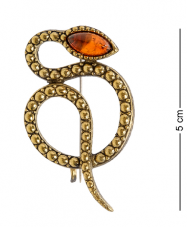 "Брошь ""Змея"" (латунь, янтарь) AM-2089"