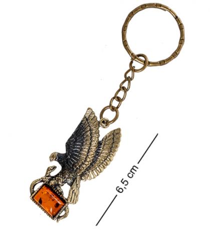 """Брелок """"Орел со змеёй"""" (латунь, янтарь) AM- 858"""
