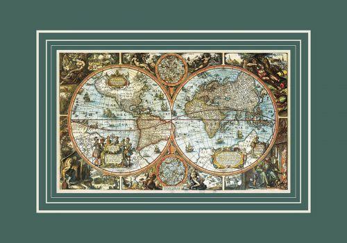 Большая карта мира, 1683 г, 94х64см KU-0071