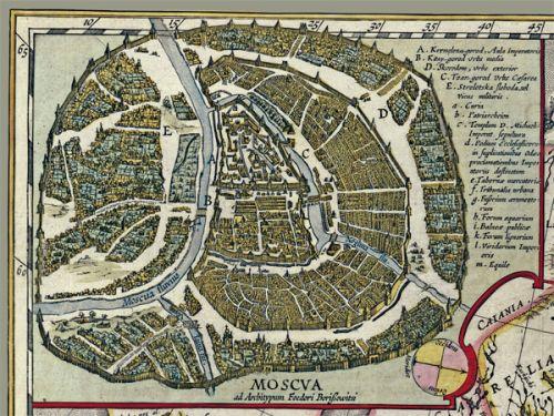 Карта России Гесселя Герритса, 1614 г, 84х64 см, в багете KU-0011-B