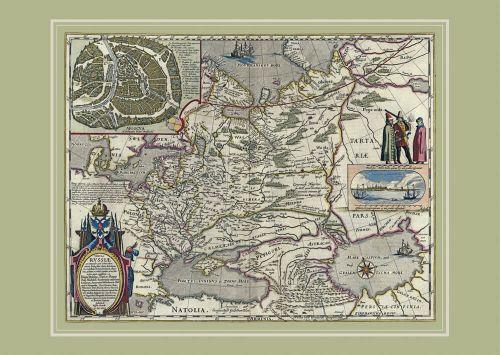 Карта России Гесселя Герритса, 1614 г, 64х44 см KU-0011