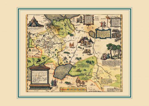 Карта России, Московии и Тартарии, 1562 г., 64х44 см KU-0041