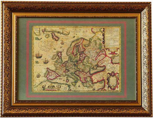 Карта Новая Европа, 1606 г., 84х64 см, в багете KU-0051-B