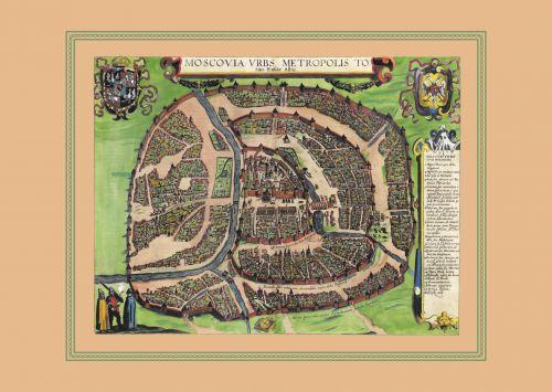 Карта Москва, столичный город всей Белой Руссии, 1610 г., 64х44 см KU-0021