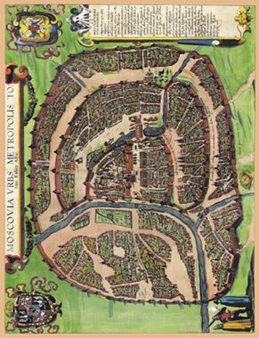 Карта Москва, столичный город всей Белой Руссии, 1610 г., 84х64 см в багете KU-0021-B