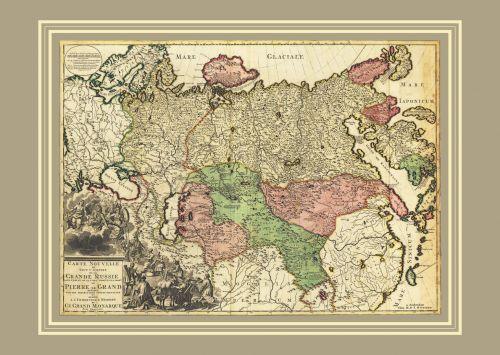 Новая карта всей империи Великой России 1728 г., 64х44 см KU-0061