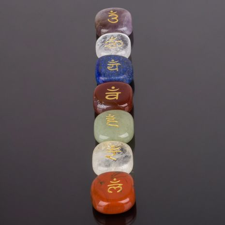 Чакра-сет 7 камней (Горный Хрусталь, Аметист, Лазурит, Яшма, Цитрин, Кварц, Сердолик) RS-116