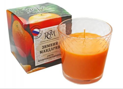 Свеча в стекле Зимний Мандарин,30ч 3113014